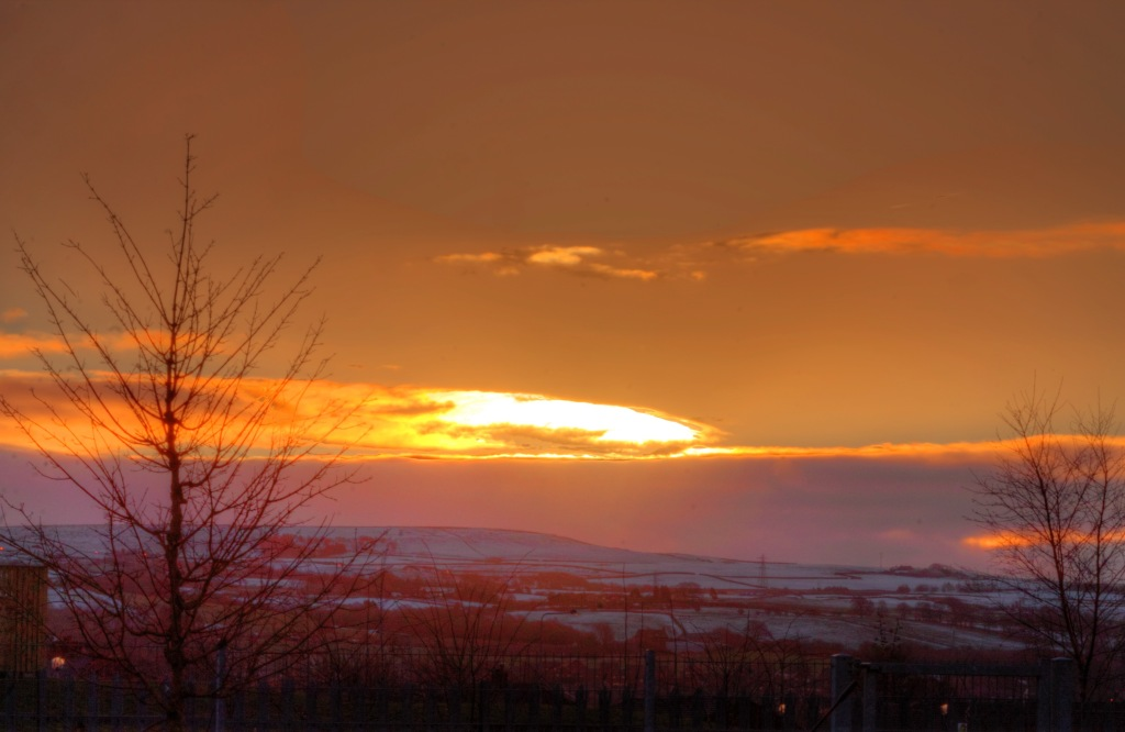 sunset towards hills