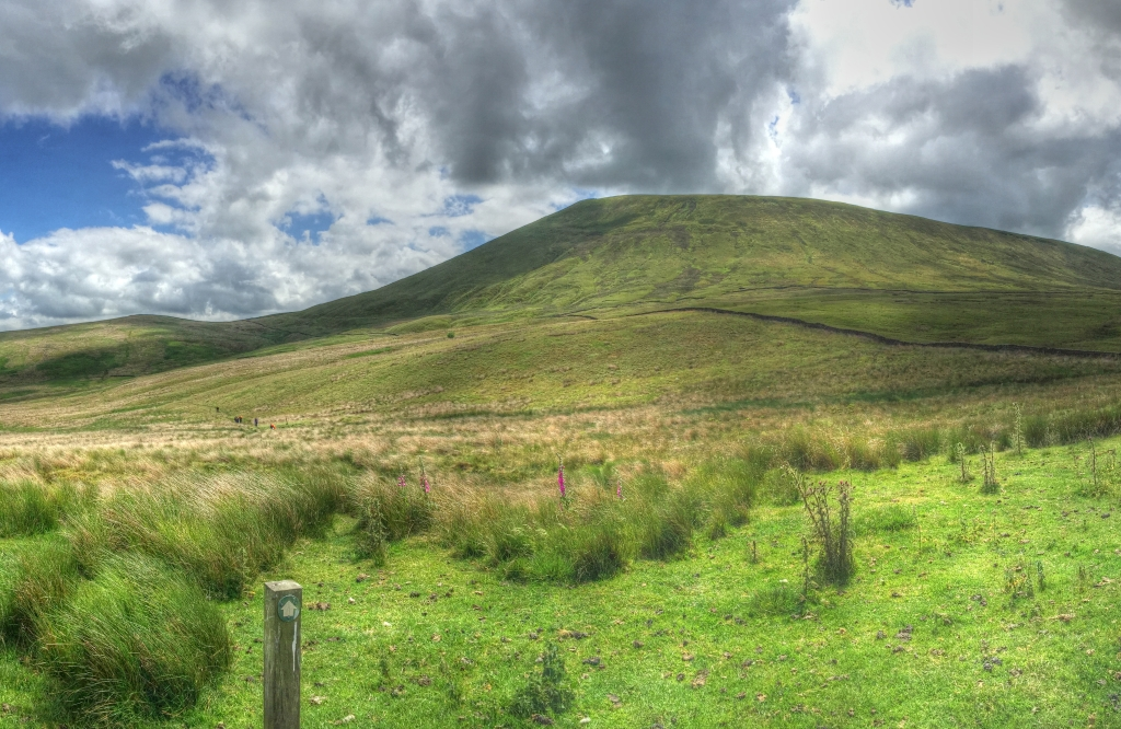 Pendle hill with route marker