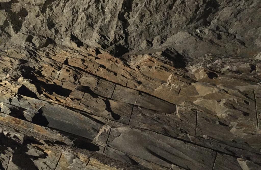 slate wall in Llechwedd slate mines